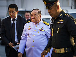 November 3, 2018 - Bangkok, Bangkok, Thailand - Gen. PRAWIT WONGSUWAN, Deputy Prime Minister of Thailand, arrives at Wat Debsirin on the first day of funeral rites for Vichai Srivaddhanaprabha. Vichai was the owner of King Power, a Thai duty free conglomerate, and the Leicester City Club, a British Premier League football (soccer) team. He died in a helicopter crash in the parking lot of the King Power stadium in Leicester after a match on October 27. Vichai was Thailand's 5th richest man. The funeral is expected to last one week. (Credit Image: © Sean Edison/ZUMA Wire)