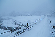 Scenic winter landscape with covered in snow bridge, Shirakawa-go, Japan
