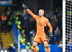 January 13, 2018 - London, England, United Kingdom - Leicester City's Kosper Schmeichel shouts instructions to his team from the dug-out..during the Premier League match between Chelsea and Leicester City at Stamford Bridge, London, England on 13 Jan t 2018. (Credit Image: © Kieran Galvin/NurPhoto via ZUMA Press)