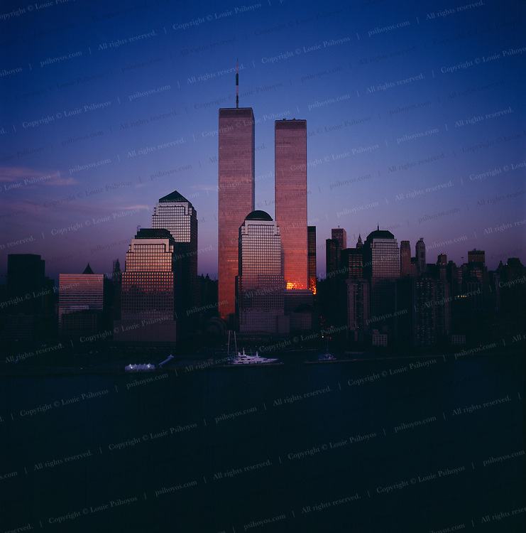 New York City skyline at dusk with the World Trade Center.