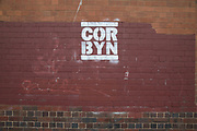 Iconic logo graffiti slogan for Jeremy Corbyn which has appeared since the General Election and takes the form in the same style as the old RUN DMC logo, seen here in Digbeth, Birmingham, United Kingdom.