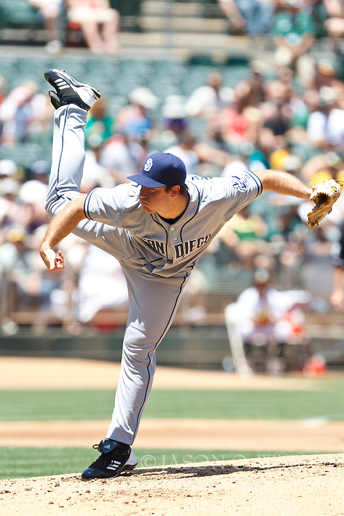 OAKLAND, CA - JUNE 16: Ross Ohlendorf #59 of the San Diego Padres pitches against the Oakland Athletics during the second inning of an interleague game at O.co Coliseum on June 16, 2012 in Oakland, California. The Oakland Athletics defeated the San Diego Padres 6-4. (Photo by Jason O. Watson/Getty Images) *** Local Caption *** Ross Ohlendorf