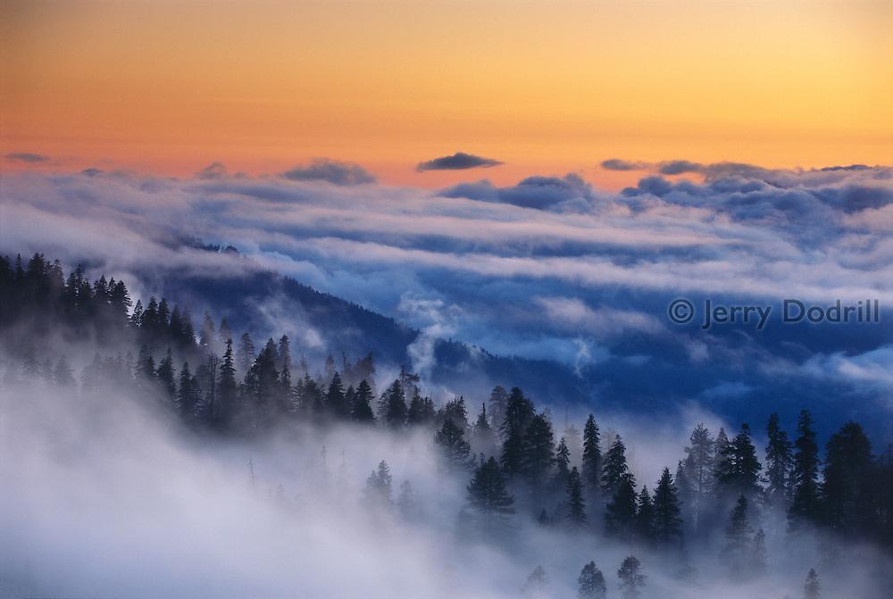 Clearing storm at dusk above Yosemite Valley, Yosemite National Park, California