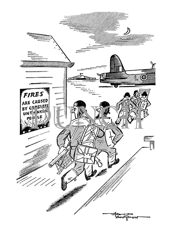 """(RAF bomber crews running to their planes pass a sign reading """"Fires are caused by unthinking people"""")"""
