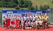Lucerne, Switzerland.    Women's eights. Awards<br />  Dock. 2010 FISA World Cup. Lake Rotsee, Lucerne.  14:35:59   Sunday  11/07/2010.  [Mandatory Credit Peter Spurrier/ Intersport Images]