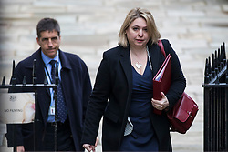 © Licensed to London News Pictures. 06/03/2018. London, UK. Secretary of State for Northern Ireland Karen Bradley (R) on Downing Street for the weekly Cabinet meeting. Photo credit: Rob Pinney/LNP