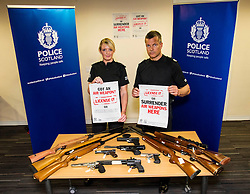 Pictured: PC Emma Black and Assistant Chief Constable Mark Williams <br /> Assistant Chief Constable Mark Williams today unveiled details of the three-week drive along with the designated stations where unwanted weapons can be handed in for secure disposal. <br /> <br /> Ger Harley   EEm 19 May  2016