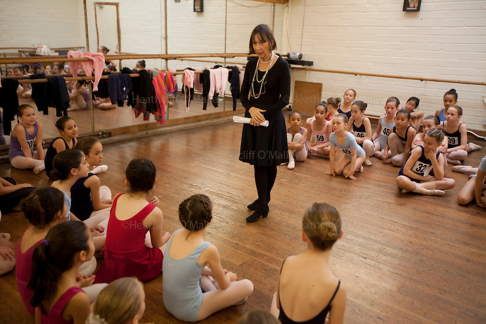 """Mcc0035274 . Daily Telegraph..The recall list for successful round 1 dancers...Audition's for the London Children's Ballet in Fulham today and a chance for a role in a production of """"The Little Princess"""" at the Peacock Theatre in April 2012..In the nine year olds age group pictured here there were 100 auditionees for a mere 7 places...London 30 October 2011."""