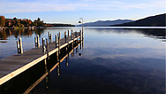 Lake George in the early morning during autumn In The Adirondack Mountains of New York State, USA