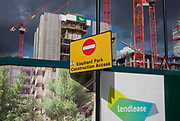 A No Entry sign at Elephant Park, Elephant & Castle, on 11th October 2016, in London, England. Southwark Council's development partner, Lendlease is regenerating over 28 acres across three sites at the heart of Elephant & Castle, in what is the latest major regeneration opportunity in zone 1 London. The vision for the £1.5 billion regeneration is to build on the area's strengths and vibrant character in order to re-establish Elephant & Castle as one of London's most flourishing urban quarters. The Elephant & Castle regeneration is of a scale rarely seen in central London and includes almost 3,000 new homes, plus office, retail, community, leisure and restaurant space.