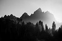 The high peaks of the Tetons at sunset in Grand Teton National Park, Jackson Hole, Wyoming