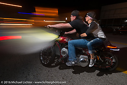 Zach Johnson rips out taking off from a Bill Dodge / Bling's Cycles party during the Daytona Bike Week 75th Anniversary event. FL, USA. Wednesday March 9, 2016.  Photography ©2016 Michael Lichter.