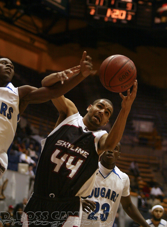 Skyline's Marcus Hightower (44) vies for a rebound with Newark Memorial's Ifeanyi Ezeofor, left, and Chris Jones (23) in the first quarter of their Martin Luther King Holiday Classic basketball game, Monday, Jan. 21, 2008 at Haas Pavilion in Berkeley, Calif. (D. Ross Cameron/The Oakland Tribune)