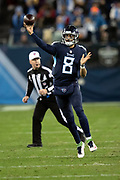 Tennessee Titans quarterback Marcus Mariota (8) throws a pass during the week 14 regular season NFL football game against the Jacksonville Jaguars on Thursday, Dec. 6, 2018 in Nashville, Tenn. The Titans won the game 30-9. (©Paul Anthony Spinelli)