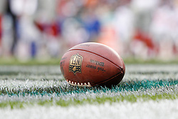 An NFL Football lays on the grass during the NFL game between the New York Giants and the Philadelphia Eagles on November 1st 2009. The Eagles won 40 to 17 at Lincoln Financial Field in Philadelphia, Pennsylvania. (Photo By Brian Garfinkel)