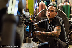 Shaun Guardado at his Suicide Machine shop as they were doing final prep on their Born Free Harley-Davidson custom and race bikes. Long Beach, CA, USA. Wednesday, June 19, 2019. Photography ©2019 Michael Lichter.