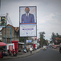 A poster in Goma features a politician in a facemask as the Ebola crisis ends in North Kivu, Congo, and the Covid crisis in in full swing. It calls on the population to break the chain of transmission of Covid.