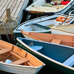 Dinghies in Mansett Harbor, Maine.