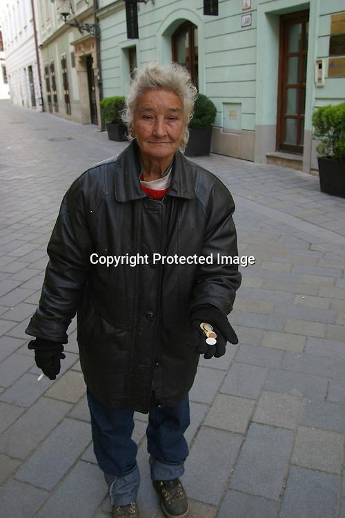 beggar in Bratislava, Slovakia