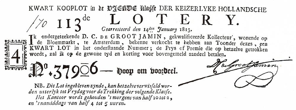 Signature of Napoleon Bonaparte on a Dutch lottery ticket 1813