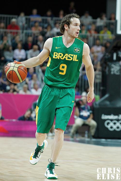 31 July 2012: Brazil Marcelinho Huertas brings the ball upcourt during 67-62 Team Brazil victory over Team Great Britain, during the men's basketball preliminary, at the Basketball Arena, in London, Great Britain.