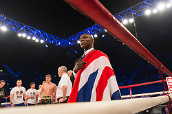 © Licensed to London News Pictures. 26/03/2016.  CHRIS EUBANK at the fight of boxer NICK BLACKWELL defending his British middleweight championship against number one-ranked contender CHRIS EUBANK JR at the SSE Arena, Wembley.   Twenty-five-year-old Blackwell is one of the most exciting fighters in the country and won the British middleweight title in May 2015.  He has since defended his title twice.  London, UK. Photo credit: Ray Tang/LNP