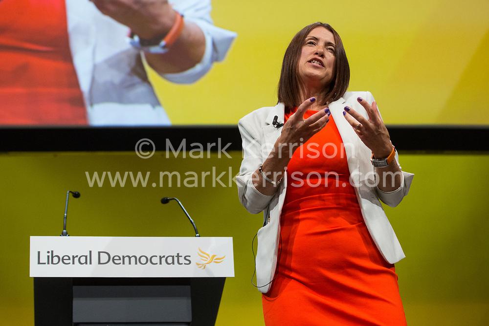 Bournemouth, UK. 15 September, 2019. Jane Dodds, the Welsh Liberal Democrat leader, addresses the Liberal Democrat Autumn Conference. Credit: Mark Kerrison/Alamy Live News