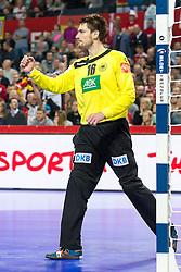 16.01.2016, Hala Stulecia, Breslau, POL, EHF Euro 2016, Spanien vs Deutschland, Gruppe C, im Bild Carsten Lichtlein (Nr. 16, VfL Gummersbach) ballt die Faust // during the 2016 EHF Euro group C match between Spain and Germany at the Hala Stulecia in Breslau, Poland on 2016/01/16. EXPA Pictures © 2016, PhotoCredit: EXPA/ Eibner-Pressefoto/ Koenig<br /> <br /> *****ATTENTION - OUT of GER*****