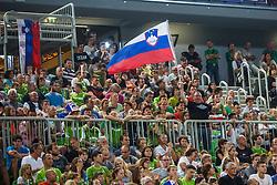 Spectators during qualifying match between Slovenia and Kosovo for European basketball championship 2017,  Arena Stozice, Ljubljana on 31th August, Slovenia. Photo by Grega Valancic / Sportida