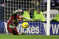 Photo: Pete Lorence.<br />Leicester City v Preston North End. Coca Cola Championship. 18/11/2006.<br />Carlo Nash prevents another shot by Iain Hume ending up in the back of the net.