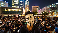 Central, Hong Kong. 27 September, 2019. Peaceful meeting by tens of thousands of pro-democracy supporters in Hong Kong at Edinburgh Place in the Central business district tonight. They gathered to hear a town hall style series of speeches and support pro-democracy supporters arrested previously in San Uk Ling. Iain Masterton/Alamy Live News.