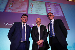 KYOTO, JAPAN - MAY 10: (L-R) Daniel Hourcade, head coach of Argentina, Eddie Jones, Head Coach of England and Guy Noves, Head Coach of France pose during the Rugby World Cup 2019 Pool Draw at the Kyoto State Guest House on May 10, in Kyoto, Japan. Photo by Dave Rogers - World Rugby/PARSPIX/ABACAPRESS.COM