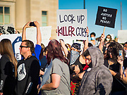 29 MAY 2020 - DES MOINES, IOWA: People at a vigil for George Floyd in Des Moines Friday evening. About 1,000 people attended the vigil. Floyd, a 46 year old unarmed African-American man, was killed by four Minneapolis police officers Monday evening May 25. The four police officers were fired from the Minneapolis Police Department. Officer Derek Chauvin, seen in videos with his knee on Floyd's neck, was charged with third-degree murder and second-degree manslaughter on Friday in Floyd's death. The death of George Floyd, while he was restrained and in police custody, has set off protests and vigils across the US.        PHOTO BY JACK KURTZ