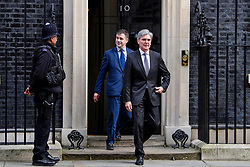 © Licensed to London News Pictures. 30/03/2017. London, UK. JOE KAESER (right), CEO of of Siemens AG, seen leaving Number 10 Downing Street on March 30, 2017 Photo credit: Ben Cawthra/LNP
