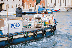 THEMENBILD - ein kleines Transportboot auf dem Canal Grande, aufgenommen am 05. Oktober 2019 in Venedig, Italien // a small transport boat on the Canal Grande, in Venice, Italy on 2019/10/05. EXPA Pictures © 2019, PhotoCredit: EXPA/Stefanie Oberhauser