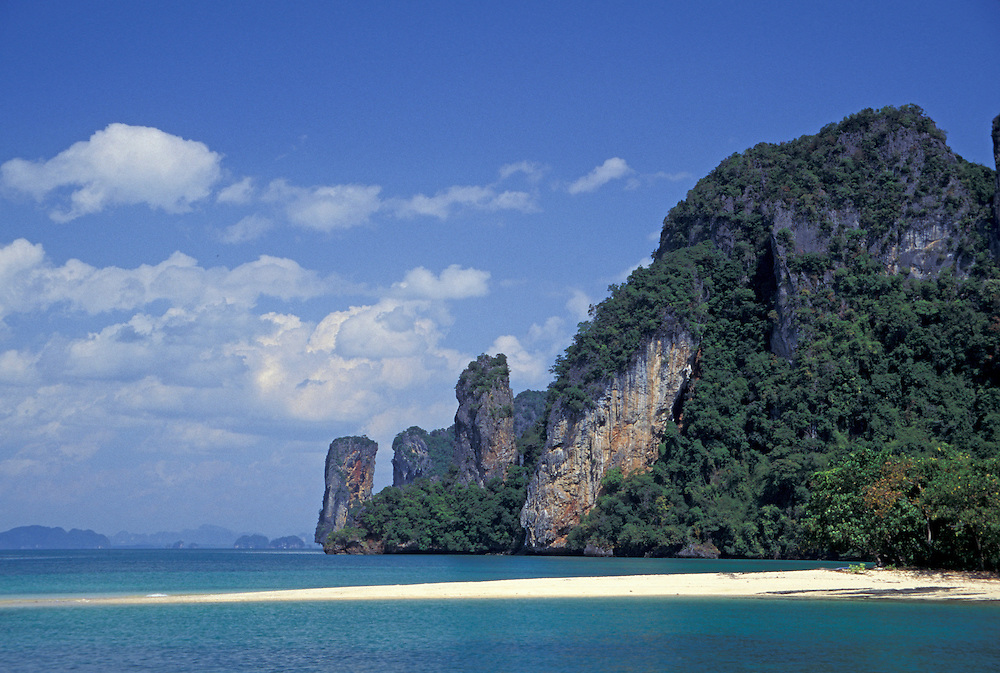 Asia, Thailand, Phang Nga Bay, Ko Pak Bia Island. White sand beach below karst (limestone) cliffs