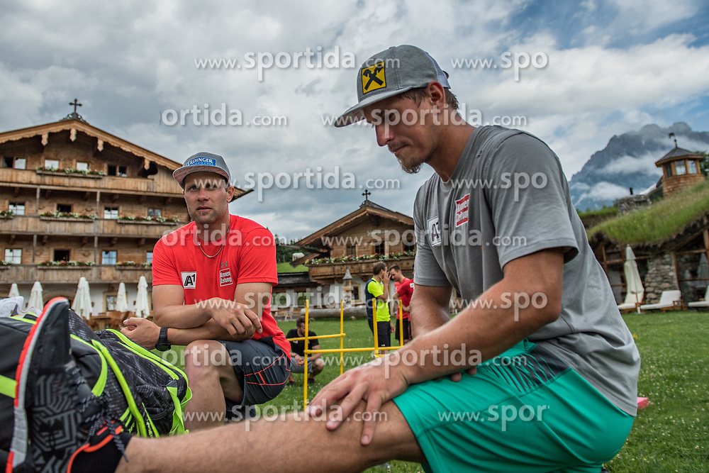 06.06.2017, Bio Hotel Stanglwirt, Going, AUT, OeSV Training, Herren Speed Team, Stanglwirt, Pressetermin, Training, im Bild v.l. Romed Baumann, Max Franz // f.l Romed Baumann of Austria and Max Franz of Austria during a Trainingsession of men's speed Ski Team of Austrian Ski Federation (OeSV) at the Bio Hotel Stanglwirt in Going, Austria on 2017/06/06. EXPA Pictures © 2017, PhotoCredit: EXPA/ Stefan Adelsberger