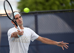 March 26, 2019 - Miami Gardens, Florida, United States Of America - MIAMI GARDENS, FLORIDA - MARCH 26: Roger Federer on the practice court day 9 of the Miami Open presented by Itau at Hard Rock Stadium on March 26, 2019 in Miami Gardens, Florida...People: Roger Federer. (Credit Image: © SMG via ZUMA Wire)