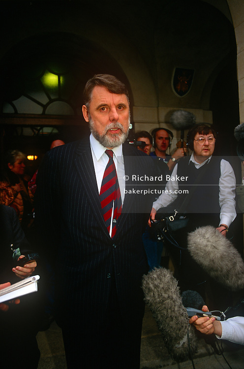 Former Lebanon hostage Terry Waite speaks outside the Church of England's Synod on 1st February 1992 in London, England. Terry Waite CBE is an English humanitarian and author. He was the Assistant for Anglican Communion Affairs for the then Archbishop of Canterbury, Robert Runcie, in the 1980s and held captive in Lebanon from 1987 to 1991.