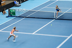 February 7, 2019 - Zielona Gora, Poland - Elena Malygina (EST) and Johanna Larsson (SWE) during Tennis 2019 Fed Cup by Paribas Europe/Africa Zone Group 1  match between Sweden and Estonia in Zielona Gora, Poland, on February 7, 2019. (Credit Image: © Foto Olimpik/NurPhoto via ZUMA Press)