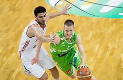 Ugur Dokuyan of Turkey vs Klemen Prepelic of Slovenia during basketball match between National teams of Turkey and Slovenia in Qualifying Round of U20 Men European Championship Slovenia 2012, on July 17, 2012 in Domzale, Slovenia. Slovenia defeated Turkey 72-71 in last second of the game. (Photo by Vid Ponikvar / Sportida.com)