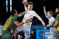 Håndball , 17. januar 2016 ,  :Norge vs Brasil - Championnat du Monde - 17/01/2017<br /> Jose Guilherme De Toledo (Bresil) vs Eivind Tangen (Norvege)<br /> Norway only