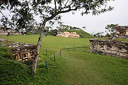 View of Totonacan ruins located in a mexican archaeological zone called Yohualichan. This archaeological zone, relatively new to the public is located close to Cuetzalan; there are similarities in design of structures to the site at El Tajin, Veracruz. Cuetzalan is a small town set high in the hills in the north of the Mexican state of Puebla. This town took its name from the quetzal, the colorful bird whose tail feathers the Mexicas used in religious ceremonies. Feb. 18, 2008. (ivan gonzalez).