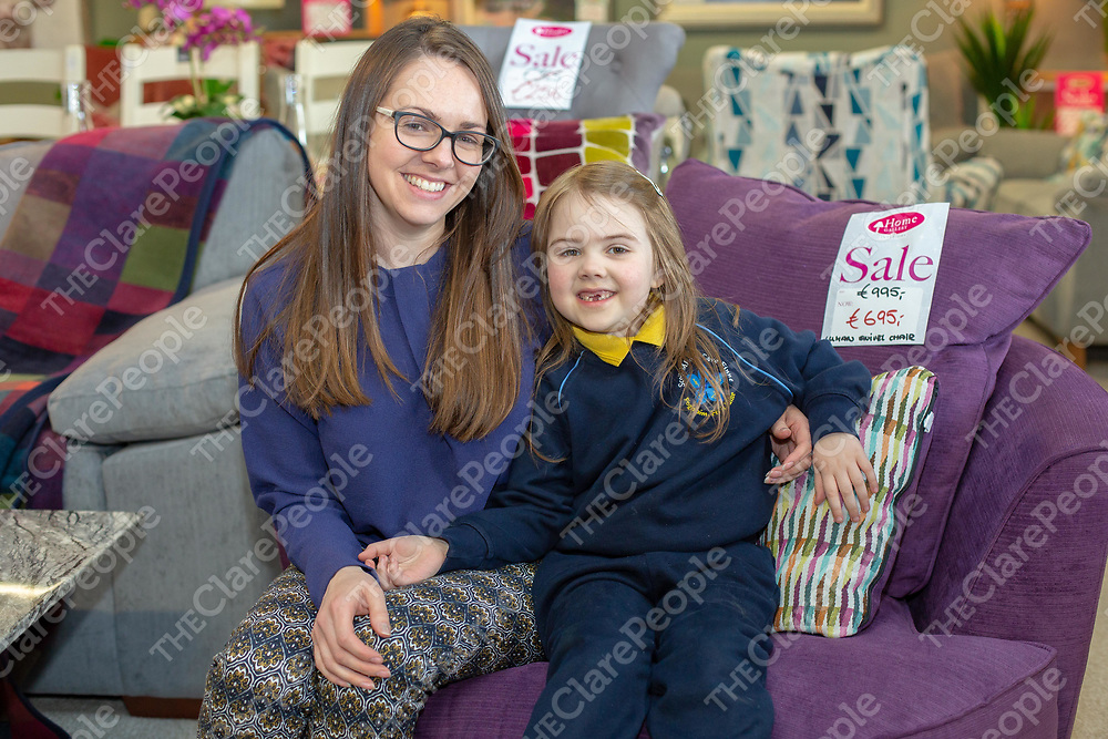 Lexie O'Loughlin with her mother from Corofin at the Anniversary Sale at Home Gallery, Ennis