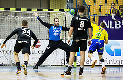 Klemen Ferlin of RK Gorenje vs Luka Zvizej of RK Celje PL during handball match between RK Celje Pivovarna Lasko and RK Gorenje Velenje in Eighth Final Round of Slovenian Cup 2015/16, on December 10, 2015 in Arena Zlatorog, Celje, Slovenia. Photo by Vid Ponikvar / Sportida
