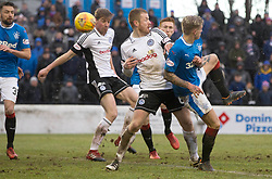 Rangers Jason Cummings (right) scores his side's first goal of the game during the William Hill Scottish Cup, fifth round match at Somerset Park, Ayr.