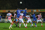 AFC Wimbledon defender Luke O'Neill (2) and AFC Wimbledon defender Terell Thomas (6) about to head the ball during the The FA Cup match between AFC Wimbledon and Doncaster Rovers at the Cherry Red Records Stadium, Kingston, England on 9 November 2019.