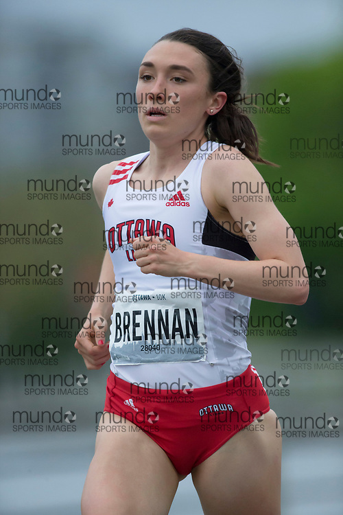 (Ottawa, Canada---25 May 2019) Becca Brennan (CAN) in the 2019 Run Ottawa 10K and Canadian 10K road racing championships. The race, held in Ottawa Canada, is an IAAF Gold Label 10K road race. Photograph copyright 2019 Sean Burges / Mundo Sport Images. For information on reproduction rights contact seanburges@mundosportimages.com.