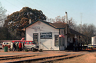 A 29 MG IMAGE OF:..The railroad station in Plains, Georgia in December of 1976..Photo by Dennis Brack  F B 1