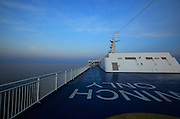 upper deck of ferry on Mediterranean sea